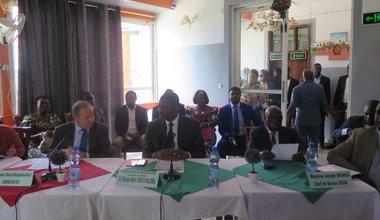 Présentation à Kananga, ce 17 septembre 2019, de l'approche NEXUS, approche conjointe des partenaires humanitaires, de développement et de paix pour le Grand Kasaï, en présence du Coordonnateur résident et coordonnateur humanitaire des Nations Unies, David McLachlan-Karr, et du gouverneur du Kasaï-Central, Martin Kabuya.
