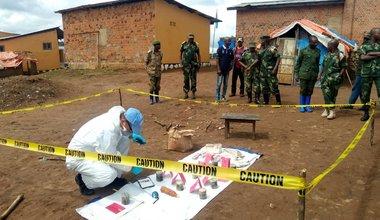 Engins explosifs saisis à Butembo : la MONUSCO apporte son appui dans l'enquête. Photo MONUSCO/UNPOL