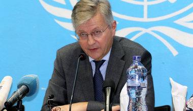 Le Secrétaire général adjoint des Nations Unies chargé des opérations de maintien de la paix, Jean-Pierre Lacroix, à la conférence de presse de la MONUSCO le 2 décembre 2019. Photo MONUSCO/John Bompengo