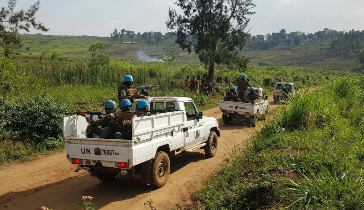 Peacekeepers from the UN Organization Stabilization Mission in the Democratic Republic of the Congo (MONUSCO) on patrol in the Irumu Territory, Ituri, to deter ADF activities. Photo MONUSCO/Force