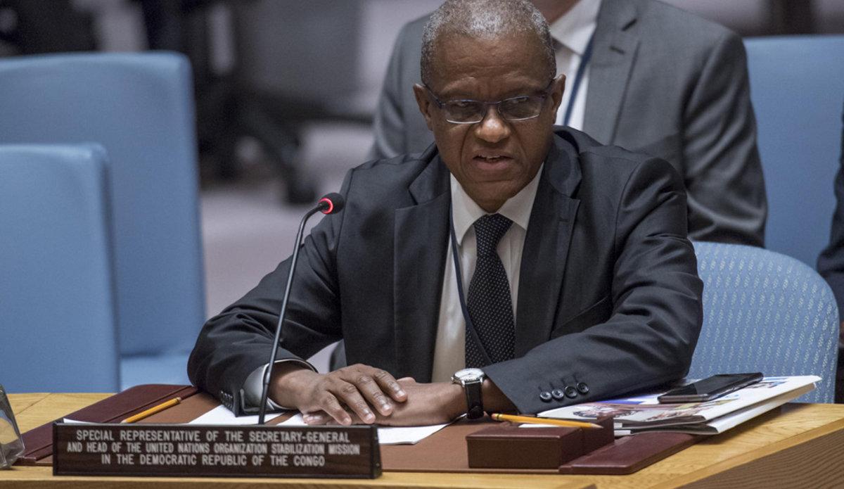 Le Représentant spécial du Secrétaire général en République démocratique du Congo (RDC), Maman Sidikou, devant le Conseil de sécurité en octobrw 2017. UN Photo/Cia Pak