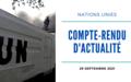 COMPTE-RENDU DE L'ACTUALITE DES NATIONS UNIES EN RDC A LA DATE DU 29 SEPTEMBRE 2021